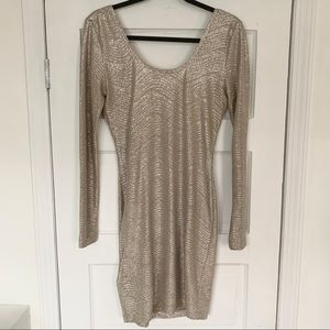 BCBG Silver Long Sleeve Mini Dress